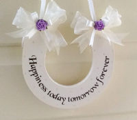 Handmade Personalised Wedding Horseshoe With Dark Lilac Roses